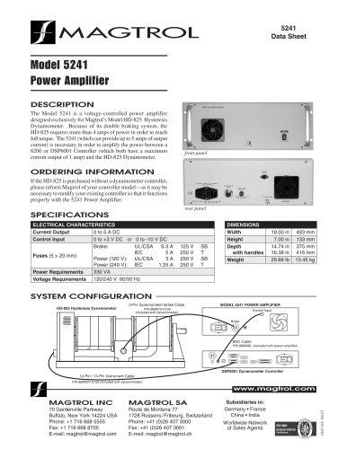 Power Amplifier for HD-825 Dynanamometers 5241