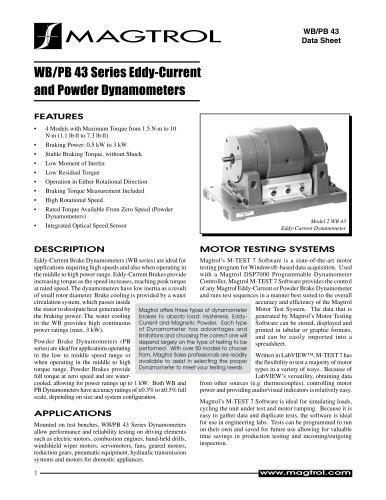 WB/PB 43 Series | Eddy-Current and Powder Dynamometers