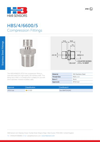 Stainless Steel Fittings HBS-4-6600-5
