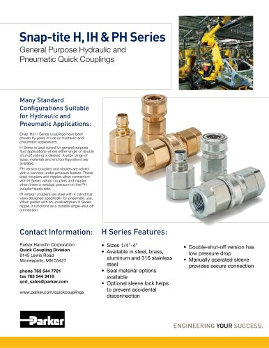 Snap-tite H, IH & PH Series General Purpose Hydraulic and Pneumatic Quick Couplings