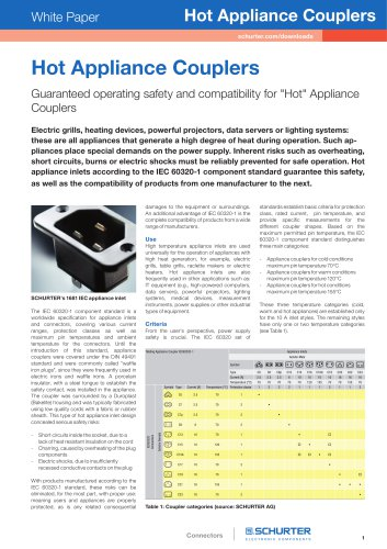 """Hot Appliance Couplers - Guaranteed operating safety and compatibility for """"Hot"""" Appliance Couplers"""
