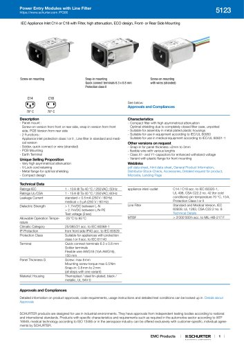 Power Entry Modules with Line Filter 5123