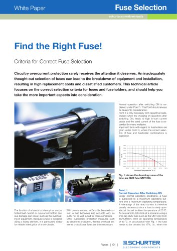 SCHURTER White Paper: Find the Right Fuse!