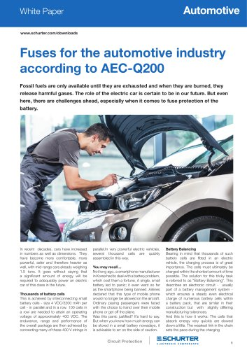 White Paper fuses for the automotive industry according to AEC-Q200