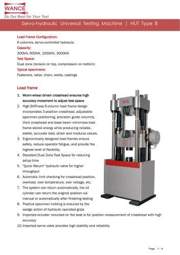 HUT Type B  servo-hydraulic Universal Testing Machine