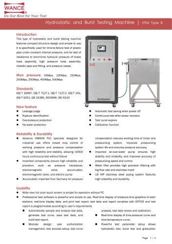 Hydrostatic and Burst Testing Machine (50~500MPa)