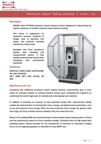 New pendulum impact tester (150J~450J)