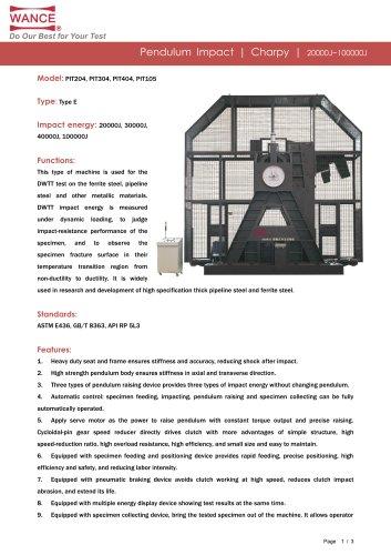 Pendulum impact tester 100000J DWTT test