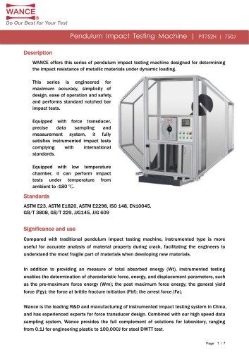Pendulum impact tester 300J~750J