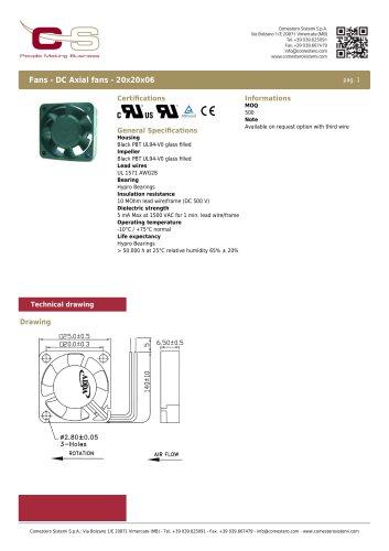 Fans - DC Axial fans - 20x20x06