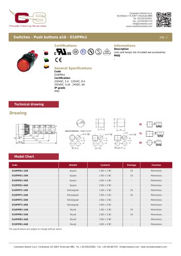 Switches - Push buttons ø16 - D16PMx1