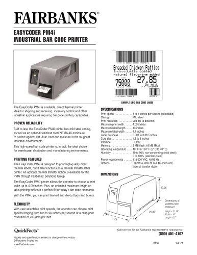 EasyCoder PM4i Industrial Bar Code Printer