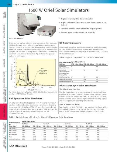 1600 W Oriel Solar Simulators