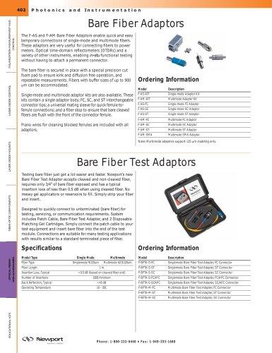 Bare Fiber Adapters, Bare Fiber Test Adaptors