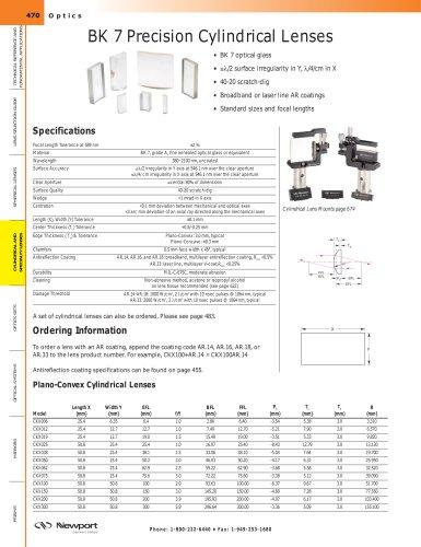 BK 7 Precision Cylindrical Lenses