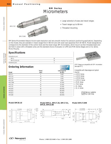 BM Series Micrometers