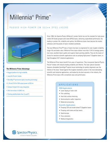 DPSS Lasers- Millenia® Prime™