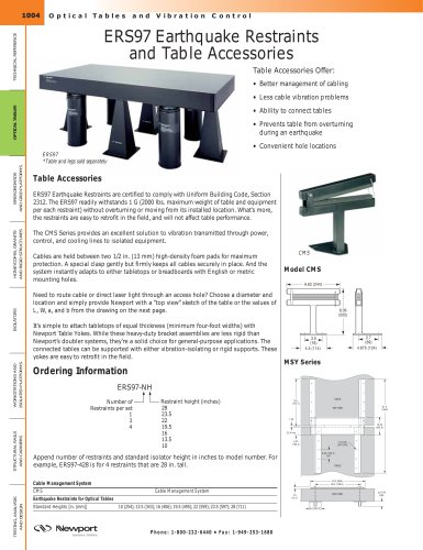 ERS97 Earthquake Restraints and Table Accessories, Space Saving Accessories