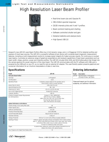 High Resolution CCD Laser Beam Profiler