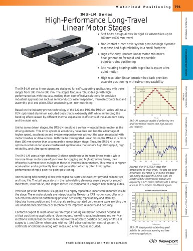 IMS-LM Series High-Performance Long-Travel Linear Motor Stages