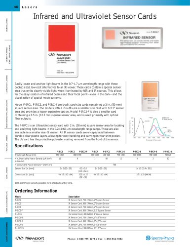 Infrared (IR) and Ultraviolet (UV) Sensor Cards