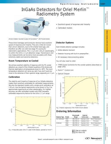 InGaAs Detectors for Oriel Merlin™ Radiometry System