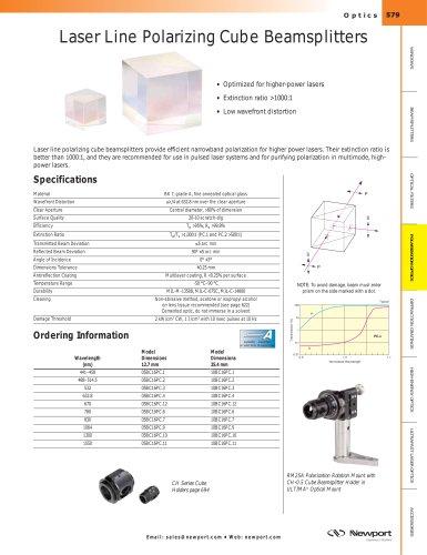 Laser Line Polarizing Cube Beamsplitters