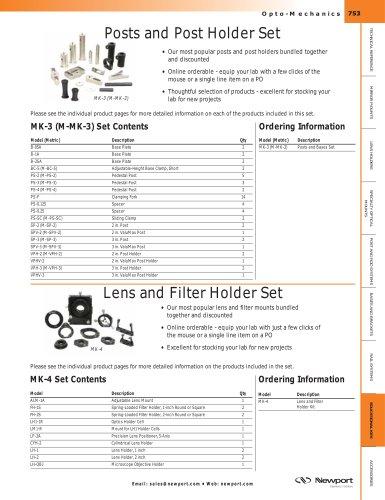 Lens and Filter Holder Set, Posts and Post Holder Set