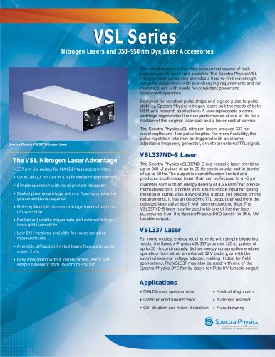 Nitrogen Lasers and 350–950 nm Dye Laser Accessories