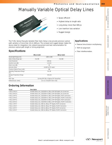 Optical Fiber Delay Lines, Manually Variable