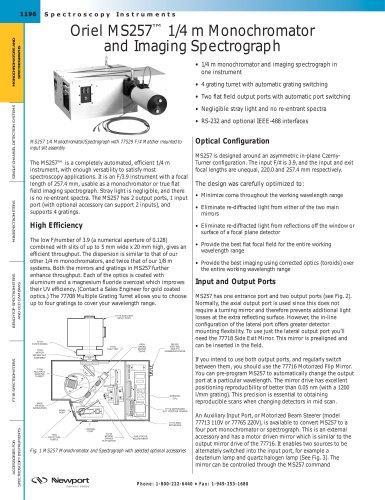 Oriel MS257™ 1/4 m Monochromator and Imaging Spectrograph