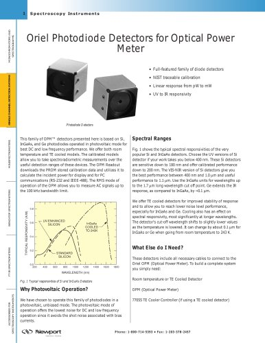 Oriel Photodiode Detectors for Optical Power Meter