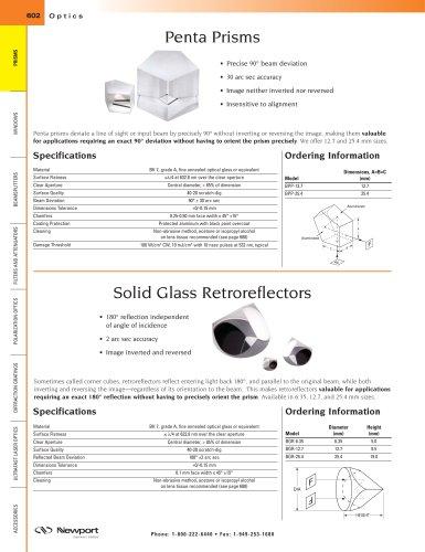 Penta Prisms, Solid Glass Retroreflectors