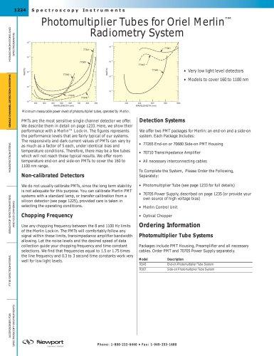 Photomultiplier Tubes for Oriel Merlin™ Radiometry System