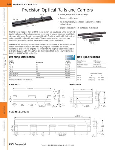 Precision Optical Rails and Carriers