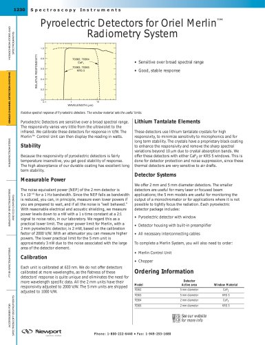 Pyroelectric Detectors for Oriel Merlin™ Radiometry System