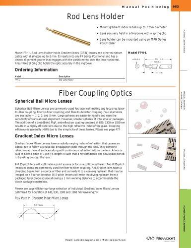 Rod Lens Holder, Fiber Coupling Optics
