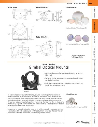 SL-A Series Clear-Base Precision Gimbal Mounts