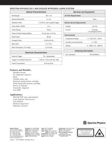 SPECTRA-PHYSICS 337-i AIR-COOLED NITROGEN LASER SYSTEM