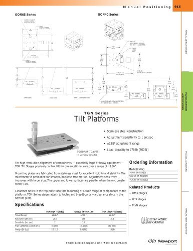 TGN Series Precision Steel Tilt Platforms
