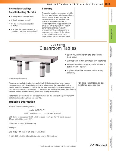 UCS Series Cleanroom Tables