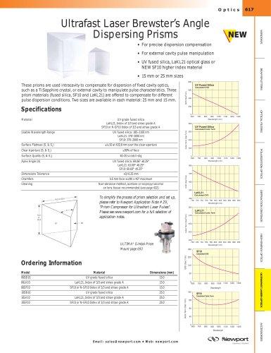 Ultrafast Laser Brewster's Angle Dispersing Prisms
