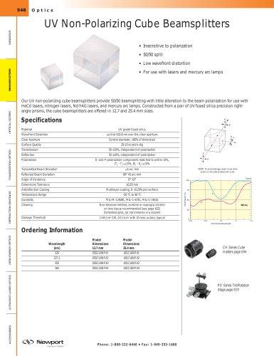 UV Non-Polarizing Cube Beamsplitters