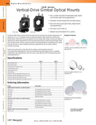 VGM Series Vertical-Drive Gimbal Optical Mounts