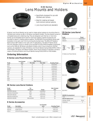 X26 Series Lens Mounts and Holders