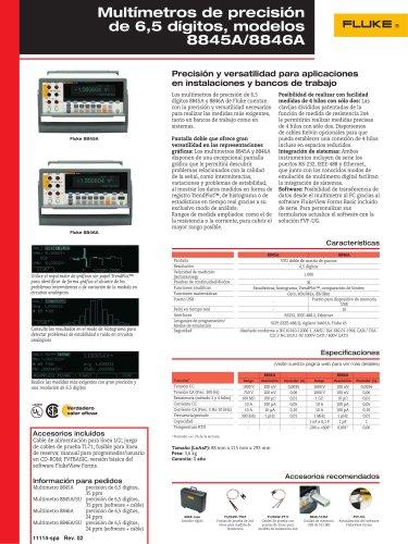 Multímetros de precisión de 6,5 dígitos, modelos 8845A/8846A