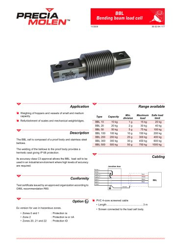Bending beam load cells BBL – From 10 to 500 kg