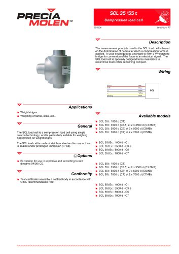 Compression load cell SCL – From 35 to 55 t