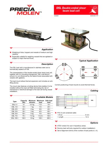 Double-ended shear beam load cell DSL – From 5 to 100 t