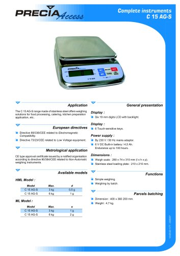 Weighing scale C 15 AG-S